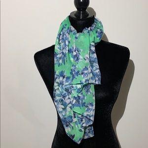 J crew lightweight green floral print scarf